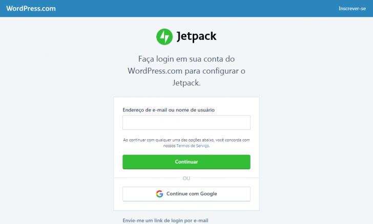 Tela de login do WordPress.com, para ativação do JetPack