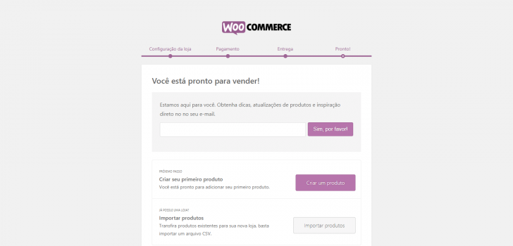 Finalização do assistente de configuração do WooCommerce
