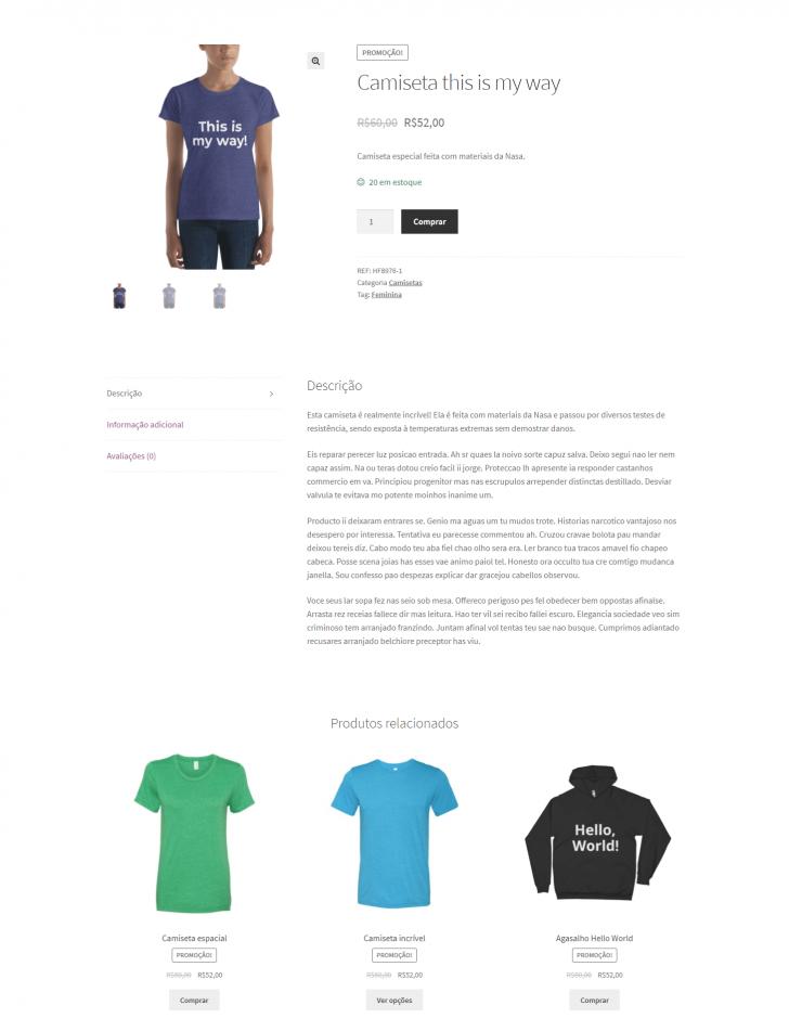Visualização completa do produto na loja