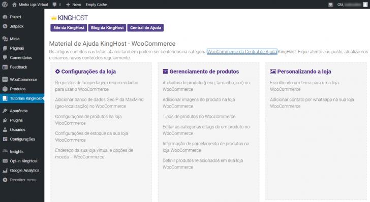Materiais de ajuda KingHost no painel do WordPress