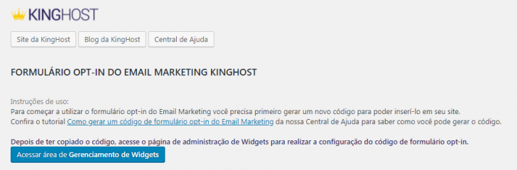 Plugin de e-mail marketing da KingHost