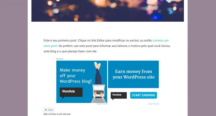 Anúncios veiculados dentro de um blog gratuito no WordPress.com