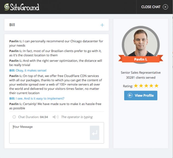 Janela de chat da SiteGround