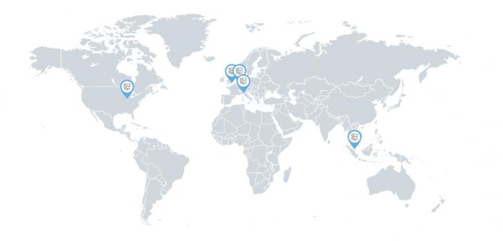 Data centers da SiteGround: Chicago (EUA), Londres (Inglaterra), Amsterdã (Holanda), Milão (Itália) e Singapura.