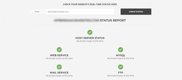 SiteGround status do servidor