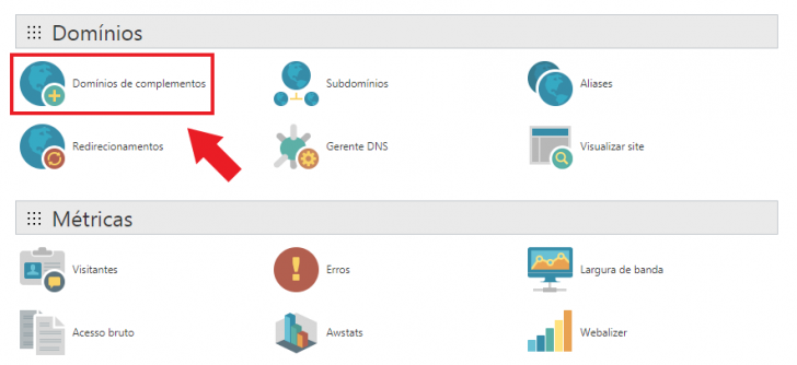 Link para inserir domínios complementares na GoDaddy