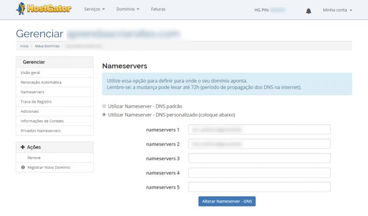 Tela de alteração dos nameservers dentro do painel do cliente da HostGator
