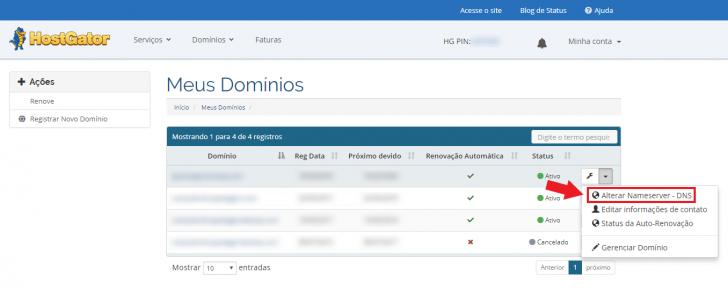 Alteração de DNS em domínios registrados na HostGator