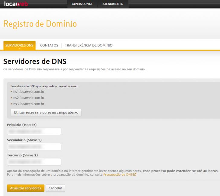 Alteração de DNS no painel do cliente da Locaweb