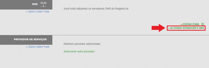 Alteração de servidores DNS no Registro.br