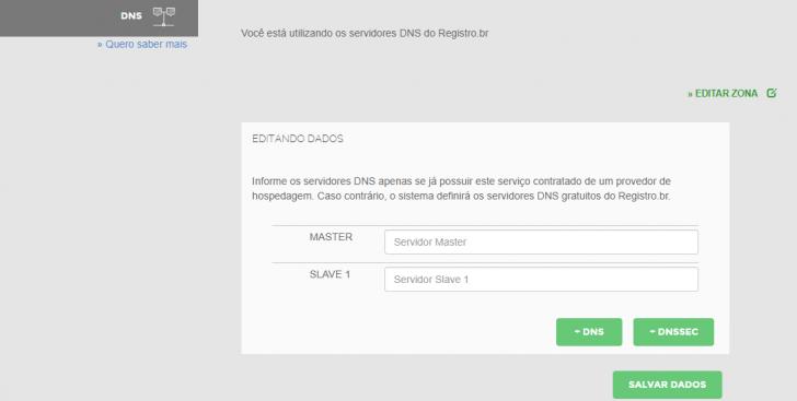 Alteração dos servidores DNS no sistema do Registro.br