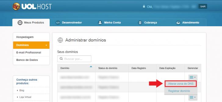 Alteração de DNS na UOL Host