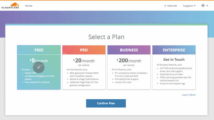 Tela para escolha de planos no CloudFlare