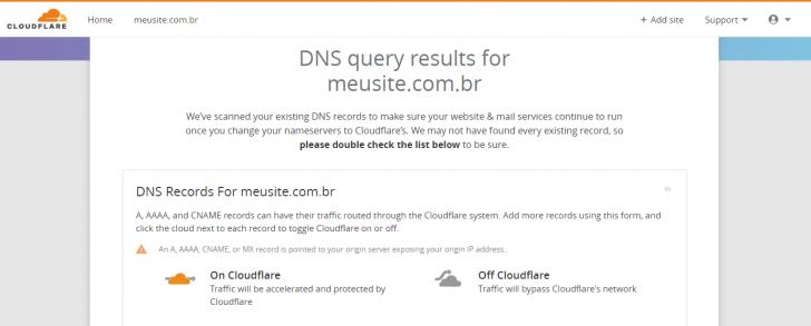 Tela de revisão das entradas de DNS lidas automaticamente pelo CloudFlare