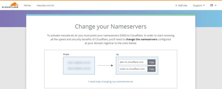 Tela com as informações de DNS que devem ser usadas para apontar o domínio para o CloudFlare