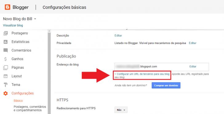 Tela de configurações básicas do Blogger