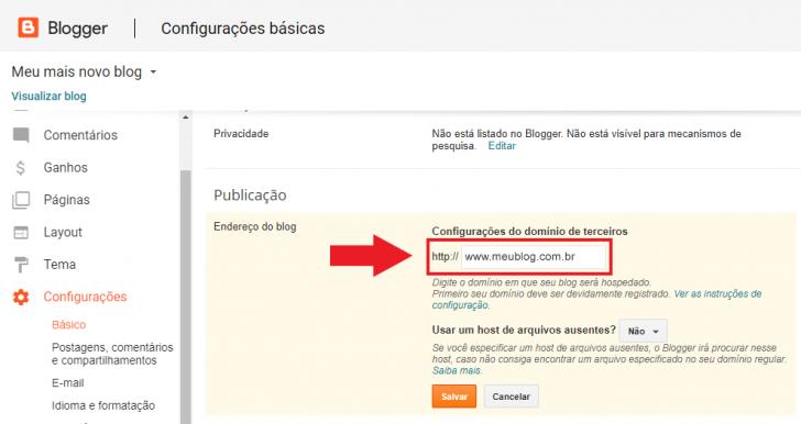 O primeiro passo para configurar um domínio personalizado no Blogger é informar a URL