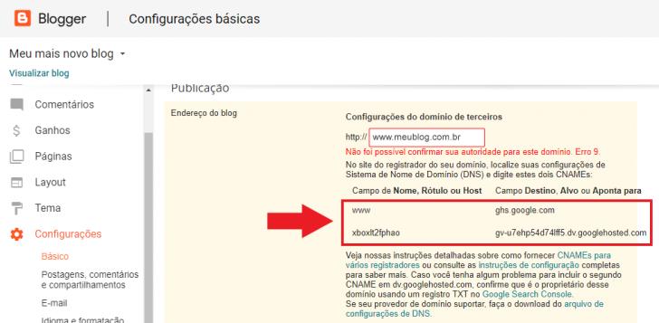 Tela com as configurações de DNS necessárias para configurar um domínio no Blogger