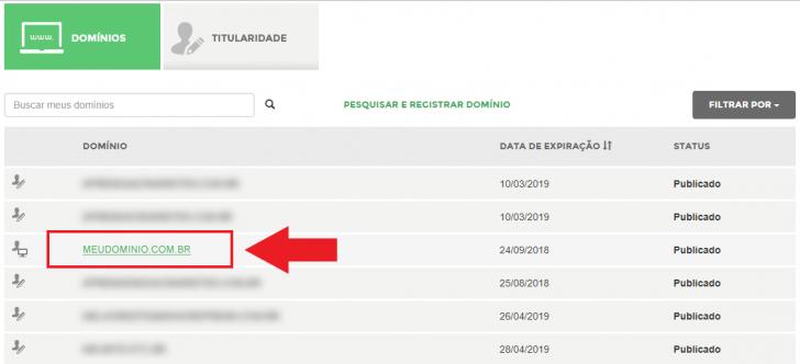 Seleção de domínios no Registro.br