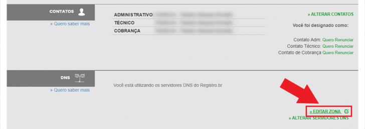 Tela de edição de zona de DNS no Registro.br