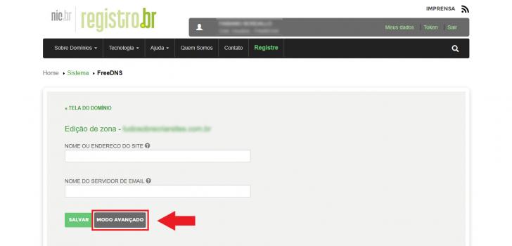Tela de alteração para o modo avançado do Registro.br