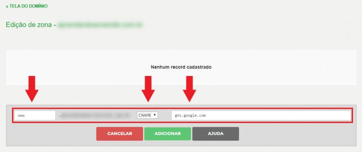 Exemplo de inserção da entrada do tipo CNAME no Registro.br