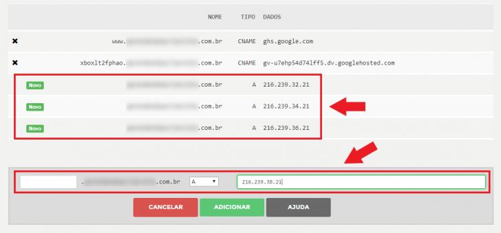 Exemplo de inserção das entradas do tipo A no sistema de DNS do Registro.br