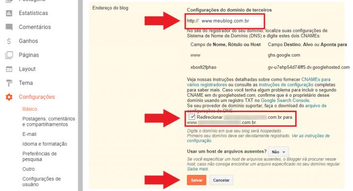 Retorne ao painel do Blogger para finalizar a configuração do domínio personalizado