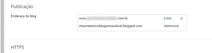Após a configuração, o endereço será exibido no painel do Blogger