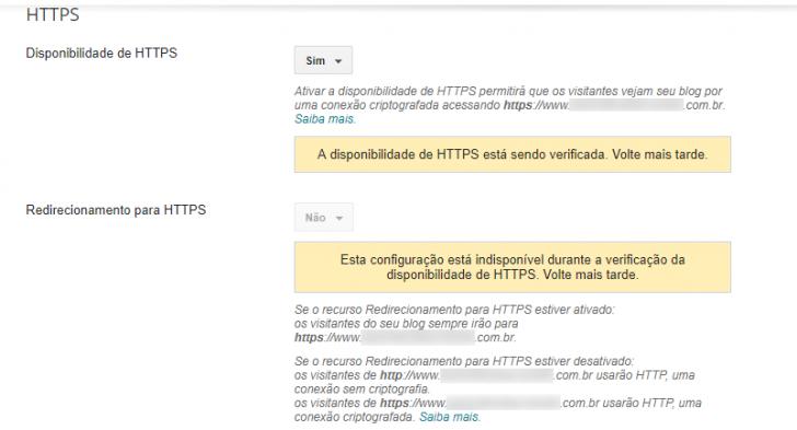 Tela para configuração da versão segura, ou HTTPS, do Blogger