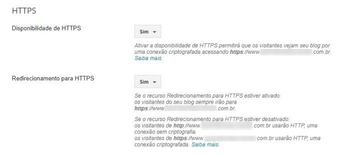 Após a emissão do certificado SSL, nenhuma mensagem de verificação será mais exibida no painel do Blogger