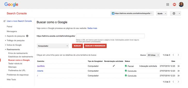 """Insira a página que deseja indexar e clique em """"buscar e renderizar"""""""