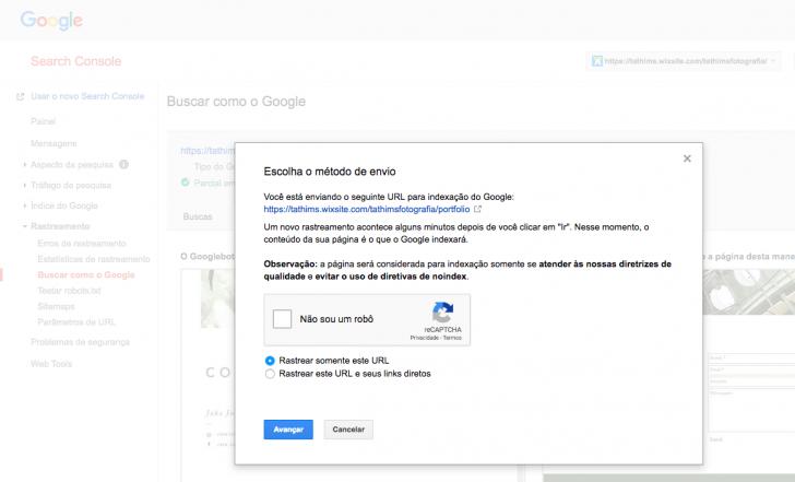 Clique em solicitar indexação e informe se deseja rastrear somente esta URL