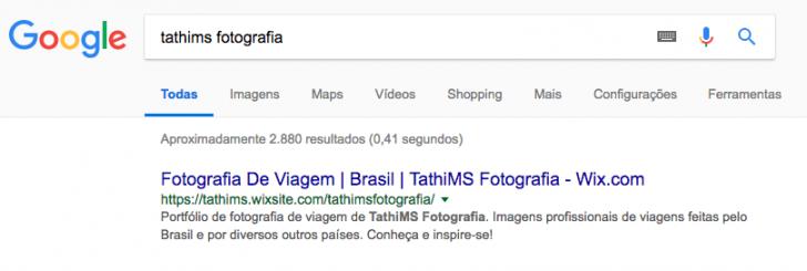 Resultado no Google para teste realizado com site gratuito do Wix