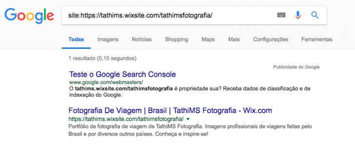 Exemplo de resultado de pesquisa no Google para um domínio