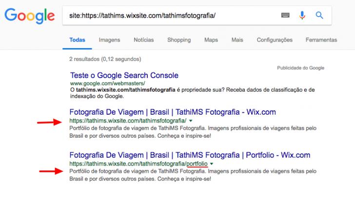 Ao pesquisar pelo domínio de exemplo, o Google agora mostra duas URLs