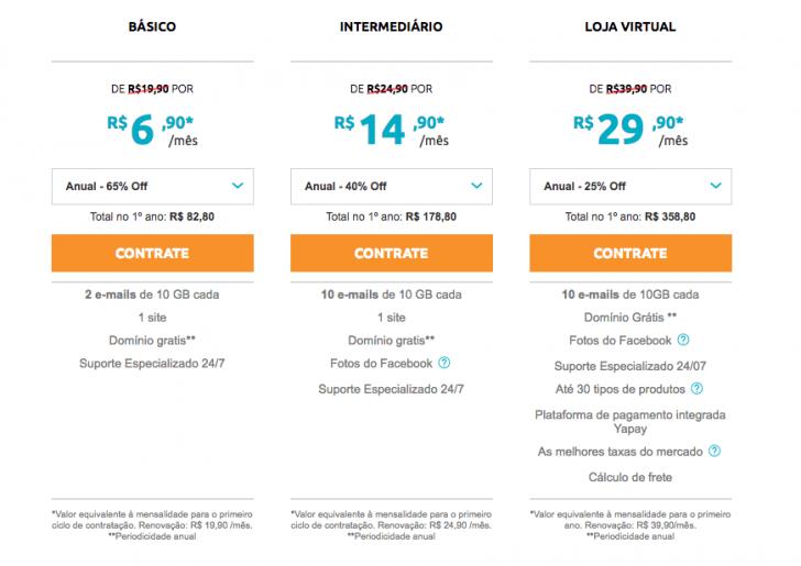 Planos e preços do Criador de Sites Locaweb
