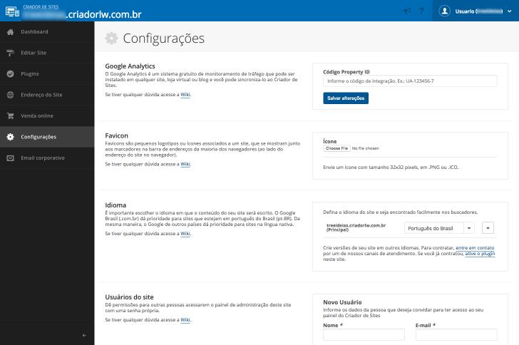 Área de configurações do criador de sites Locaweb