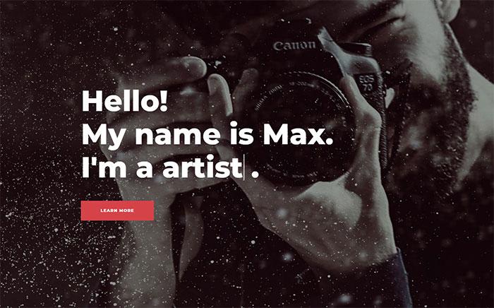 Template Elementor site de fotografia
