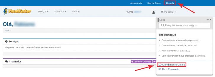 O atendimento via chat é feito dentro da área do cliente