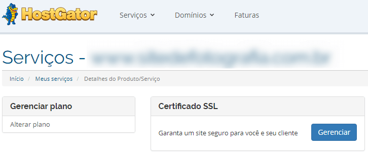 Certificado SSL no painel do cliente HostGator