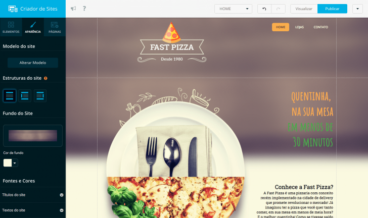 Criador de sites Locaweb - incluído gratuitamente na contratação da hospedagem