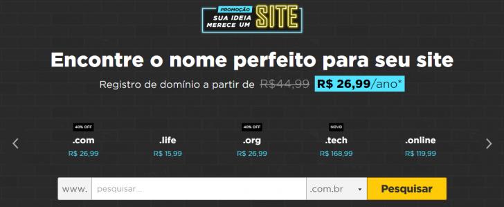 Página de registro de domínio da HostGator