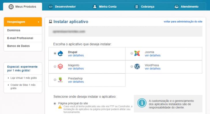 Instalador de aplicativos da UOL Host