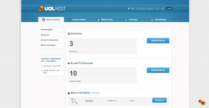 Painel de controle da hospedagem UOL Host