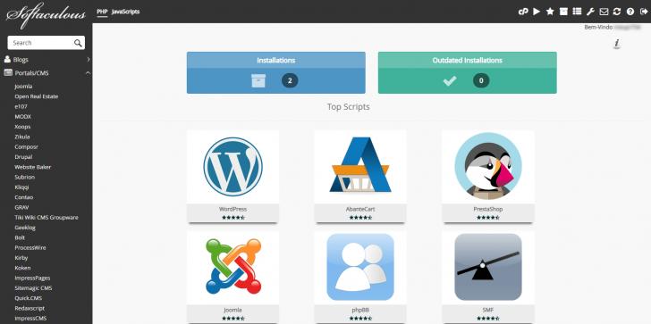 Softaculous, o instalador de scripts e aplicações da HostGator