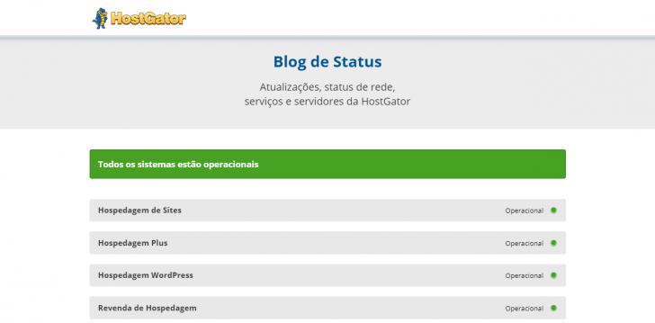 Status dos servidores da HostGator
