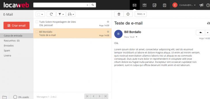 Webmail incluído na hospedagem Locaweb