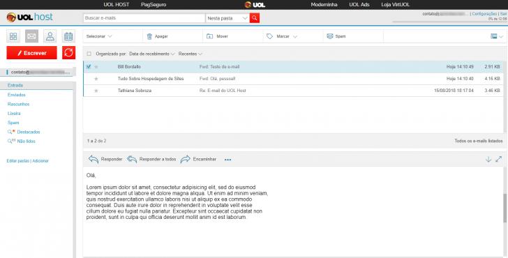 Webmail incluído na hospedagem UOL Host