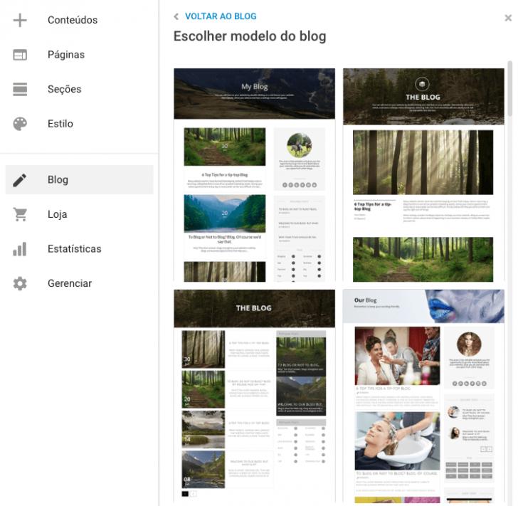 Modelos de blog disponíveis na ferramenta